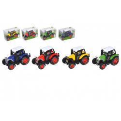Traktor kov/plast 7cm na zpětné natažení 4 barvy v krabičce 8x5x4cm 12ks v boxu