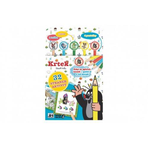 Aktivity Krtek s 1 tužkou, 5 gumami, 4 pastelkami na kartě 17x27cm