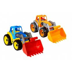 Traktor/nakladač/bagr se lžící plast na volný chod 2 barvy 17x37x17cm 12m+