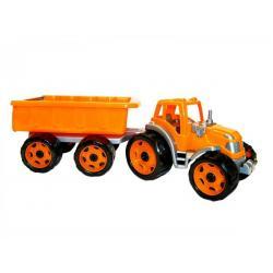 Traktor s vlekem plast 53cm na volný chod 2 barvy v síťce