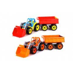 Traktor/nakladač/bagr s vlekem se lžící plast na volný chod 2 barvy v síťce 16x61x16cm
