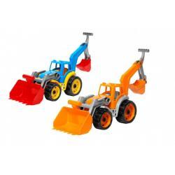 Traktor/nakladač/bagr se 2 lžícemi plast na volný chod 2 barvy v síťce 16x35x16cm