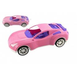 Auto sportovní pro holky růžové plast na volný chod v síťce 16x36x12cm
