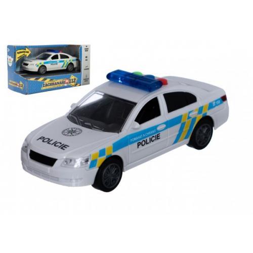 Auto policie plast 15cm na baterie se zvukem se světlem na setrvačník v krabici 20x11x9cm