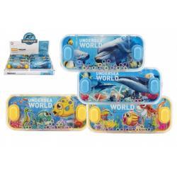 Vodní hra hlavolam 15x7cm plast mořský svět 4 druhy 24ks v boxu