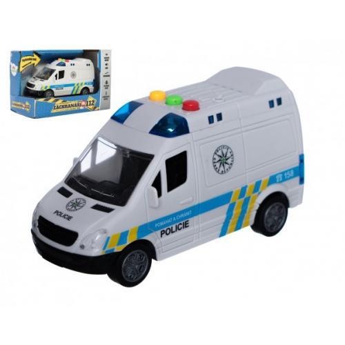 Auto policie dodávka plast 15cm na setrvačník na baterie se zvukem se světlem v krabici 19x13x9cm