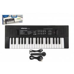 Pianko/Varhany/Klávesy 37 kláves plast napájení na USB + mikrofon 40cm v krabici 41x15x4cm