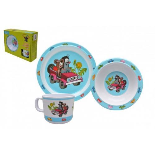 Dětské nádobí sada Krtek plast 3ks v krabici 31x23x8cm 6m+