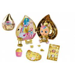 CRY BABIES Magické slzy plast panenka s domečkem a doplňky ve zlaté slzičce 12x15x12cm 12ks v boxu