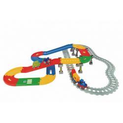 Play Tracks - vlak s kolejemi plast 5ks autíček,délka dráhy 6,3m s doplňky v krabici 80x53x14cm 12m+