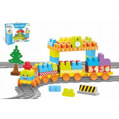 Baby Blocks vlak s kolejemi a stavebnicí plast délka dráhy 3,3m s doplňky v krabici 65x36x8cm 12m+