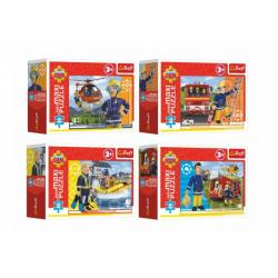 Minipuzzle miniMAXI 20 dílků Hrdinský Požárnik Sam 4 druhy v krabičce 11x8x4cm 24ks v boxu