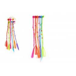 Sponky/Skřipce do vlasů 6ks plast s barevnými copánky 30cm 2druhy v sáčku