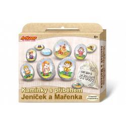 Malování na oblázky/kameny s příběhem Jeníček a Mařenka  kreativní sada  v krabičce 19x16x4cm