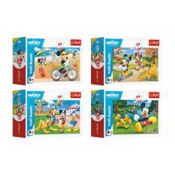 Minipuzzle 54 dílků Mickey Mouse Disney/ Den s přáteli 4 druhy v krabičce 9x6,5x4cm 40ks v boxu