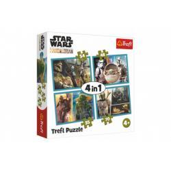 Puzzle 4v1 Mandalorian a jeho svět/Star Wars v krabici 28x28x6cm