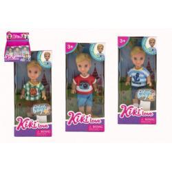 Panenka/Panáček Kiki Anlily kloubová 12cm plast pevné tělo 3 barvy v krabičce 7x16x4cm 12 ks v boxu