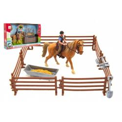 Kůň + panáček žokej plast s ohradou s doplňky v krabici 33x19x5,5cm