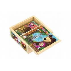 Kostky kubus dřevěné Máša a Medvěd 9ks v krabičce 13x13x5cm 12m+