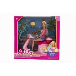Panenka Anlily kloubová 30cm plast se skútrem na volný chod v krabici 33x31x9,5cm