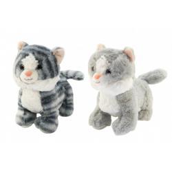 Kočka/Kočička stojící plyš 2 barvy 23cm v sáčku 0+