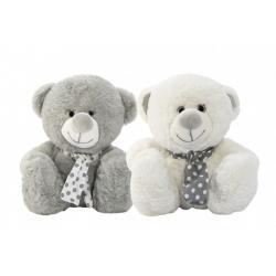Medvěd/Medvídek sedící se šátkem plyš 2 barvy 35cm v sáčku 0+