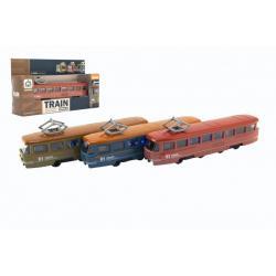 Vlak/tramvaj kov/plast 17cm na zpětný chod na bat. se zvukem se světlem 3 barvy v krabičce 22x13x6cm