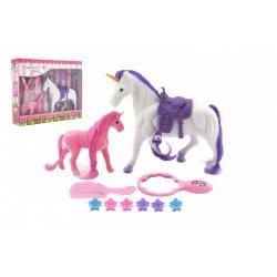 Jednorožec kůň česací se sedlem s hříbětem fliška plast s doplňky v krabici 29x24x7cm