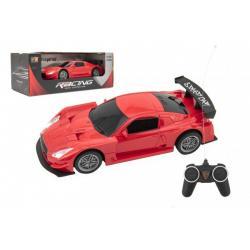 Auto RC sport plast 20cm červené na baterie 27MHz v krabici 26x10x12cm