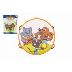 Tamburína plast 16cm Zvířátka a jejich kapela 2 barvy na kartě