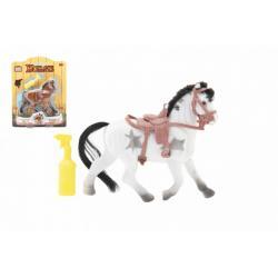 Kůň fliška 16cm se sedlem s doplňkem 3 barvy na kartě