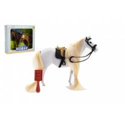 Kůň česací s hřebenem plast 18cm 2 barvy v krabičce 20x17x2cm