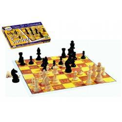 Šachy dřevěné figurky společenská hra v krabici 37x22x4cm