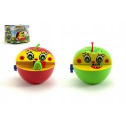 Pokladnička červené jablko s červíkem na klíček plast 16x10cm asst 2 barvy v krabičce