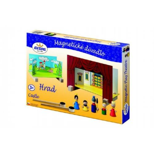 Divadlo Hrad magnetické dřevěné s figurkami v krabici 33,5x20x3,5cm