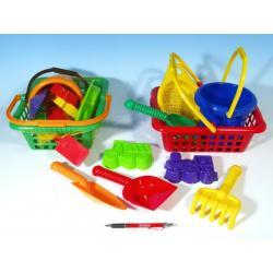Košík sada - 2 bábovky rýč lopatka hrabičky sítko kbelík nákupní košík plast 12m+