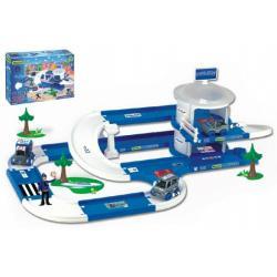 Garáž+dráha Kid Cars 3D Policie plast 3,8m v krabici 59x40x15cm 12m+ Wader