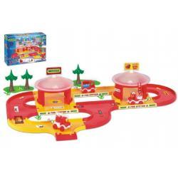 Garáž+dráha Kid cars 3D Hasiči plast 3,1m v krabici 59x40x15cm 12m+ Wader