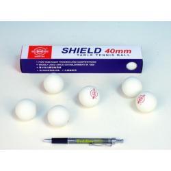 Míčky na stolní tenis SHIELD 4cm bezešvé bílé 6ks v krabičce