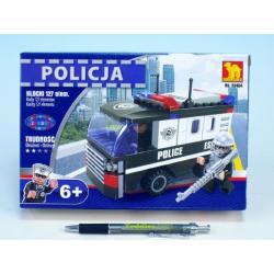 Stavebnice Dromader Policie Auto Dodávka 23404 127ks v krabici 22x15x4,5cm