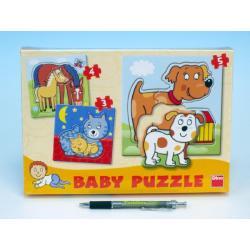 Puzzle baby zvířátka 18x18cm 12 dílků v krabici 27x19x3,5cm
