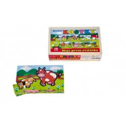 Kostky kubus Moje první zvířátka dřevo 15ks v dřevěné krabičce 20x13x5,2cm od 12 měsíců MPZ