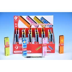 Harmonika Princess dřevo 13x2,7x2,8cm asst 4 barvy 24ks v boxu