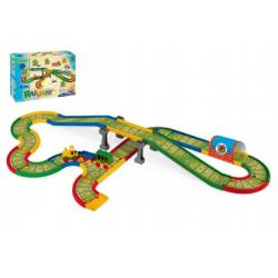 Kid Cars - Železnice s městem 4,1m v krabici 59x40x15cm Wader