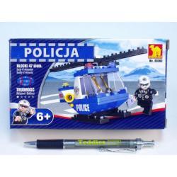 Stavebnice Dromader Policie Vrtulník 23202 47ks v krabici 16,5x9,5x4,5cm
