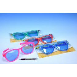 Brýle MAXI žertovné 27x9x1,5cm asst 6 barev na kartě karneval