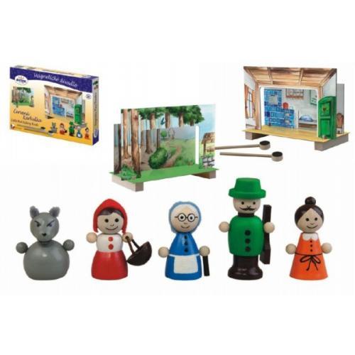 Divadlo Červená Karkulka magnetické dřevěné s figurkami v krabici 34x23x3cm