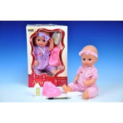 Panenka miminko Agusia pevné tělo pijící a čůrající 38cm s doplňky asst v krabici